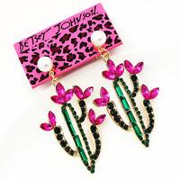 Betsey Johnson Fashion Pearl Crystal Saguaro Cactus Earbob Dangle Earrings Gift