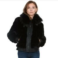 New SILENT NEW YORK Faux Fur Vegan Leather Lux Zip Coat Jacket size Medium NWT