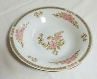 "Yung Shen FINE FAIRFIELD CHINA Floral Mist Rimmed Soup Bowl 8-3/8"" Pink, White"