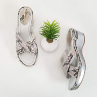 Cole Haan Air Wedge Slide Sandal Silver Gray Snake Print Leather Womens Size 8.5