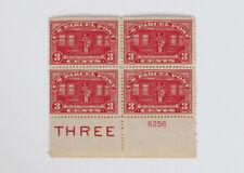 Parcel Post 3c Railway Postal Clerk 1913 Scott #Q3 Plate Block of 4 Mint H