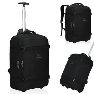 2-in-1 Convertible Travel Wheeled Carry-on Bag Luggage Rolling Laptop Backpack