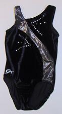 Gk Elite Leotard Cm Childs Medium Nylon Spandex Black Velvet Silver Gymnastics