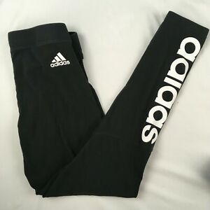 ADIDAS black leggings WOMENS SMALL S white logo spellout yoga pants 25x28