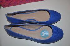NIB $250+ Tory Burch LOWELL 2 Ballet Flat Shoe BLUE MACAW Leather Sz 8 WIDE