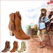 Cowboy Faux Suede Women High Heels Ankle Fringe Tassels Western Boots Shoes Chic