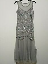 NEW Capsule Soft Grey Beaded long prom dress size 14  Rrp £130 Ref M35