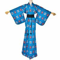 Women's Vintage blue wool Kimono Japanese wool robe Vintage Long Blue Dress