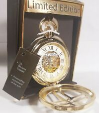Men Elgin Automatic Skeleton Pocket Watch Crucified Gold Tone Fg1610013pw Limite