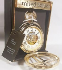 Men Elgin Automatic Skeleton Pocket Watch Crucified Gold Case Fg1610013pw Limite