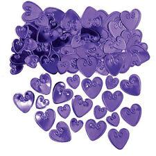 Mesa De Corazones Púrpura Amor Confeti Púrpura Decoraciones de mesa de fiesta