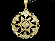 s P033 Genuine 9K Yellow Gold NATURAL Sapphire & Diamond Pendant Vintage style