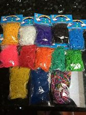 12000 RAINBOW FUN LOOM Rubber BANDS LOOM+Clips/600 Per Pack/20 packs+10 charms