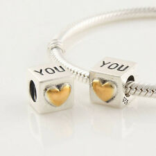 New Auth 925 Sterling Silver Charm Bead fits Fashion Bracelets - I love you Cube