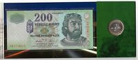 HUNGARY -MINT SET OF TRANSFER FROM 200 FORINT BANKNOTE TO BIMETAL COIN 2006 YEAR