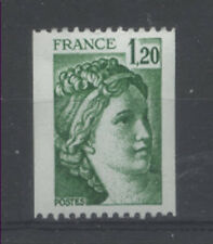 FRANCE TIMBRE ROULETTE 2103a N° rouge au verso SABINE vert - LUXE **
