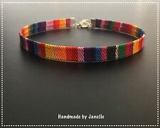 Candy Stripe Multi Colour Boho Choker Necklace Handmade