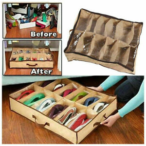 12 Pairs Shoe Tidy Under Bed Storage Organiser Closet Bag Hot Box For Shoes DA