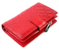 Women's Genuine Crocodile Belly Leather Wallet RED Bifold Clutch Purse Alligator