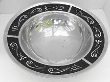 Lenox Spyro Bowl Polished Silver Tone Metal & Black Glass, Decorative Rim
