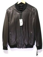 Andrew Marc Men's Winter Lamb Leather Jacket Bomber with Real Rabbit Fur Lined M