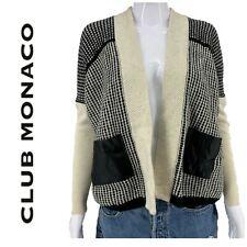 Club Monoco Houndstooth Cardigan Sweater Sz XS Wool Cashmere Vegan Leather Trim