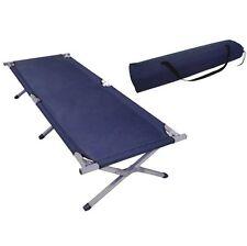 Folding Camping Bed Ourdoor Travel Camp Light Aluminium Steel Legs Blue