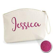 Personalised Handwritten Name Make Up Wristlet Bag Glitter Print Natural S Lsize