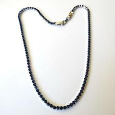 WOMEN'S TENNIS NECKLACE SILVER TONE  Sim. Blue Sapphires 16.92 - 16.14 in. 43 AA