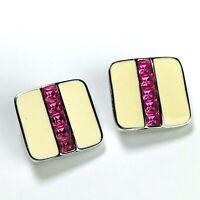 Vintage SAL Swarovski Crystal Earrings Clip On Pink Ivory Enamel Square Signed