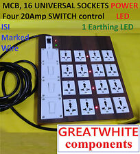 Wooden Extension 4, 20A switch+ 16 universal sockets, 2 meter  2.5 mm wire, MCB