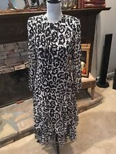 Lillie Rubin Animal Print Embellished Scoop Back Tiered Sheer Sleeve Dress 10