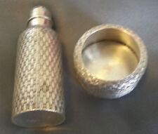 """Rare Whiting Sterling Basketweave Open Salt """"Seltzer Bottle"""" Pepper Shaker c1900"""