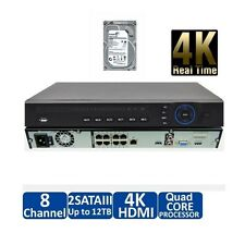 DAHUA  NVR4208-8P-4K-S2  8 Channel 1U 8PoE NVR+Installed  with 4TB HDD