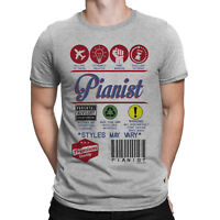 Mens PIANIST T-Shirt Funny Music Product Label PIANO Synth 80s Electric Sound