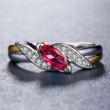 925 Silver Jewelry Marquise Cut Garnet Gorgeous Women Wedding Ring Size 6