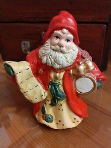 VINTAGE FATHER CHRISTMAS SANTA CLAUS CERAMIC POTTERY ORNAMENT FIGURINE