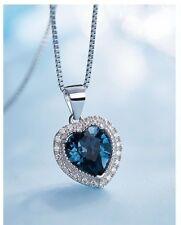 Birthstone 925 Sterling Silver Heart Swarovski Crystals Fashion Pendant Necklace