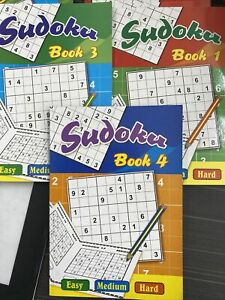 3 x Sudoku Puzzle Books A5 Dats - 48 Pages per Book