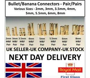 RC Vehicle Banana Bullet Plugs Connectors 2mm 3 3.5mm 4mm 5 5.5mm 6mm 8mm LiPo