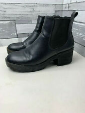 Ladies Slip On Ankle Boots Black Size 6 UK 39 EU Red Kiss Chunky Heel