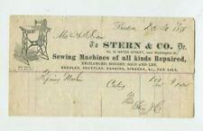 Vintage Illustrated Billhead STERN & CO SEWING MACHINE Boston 1870