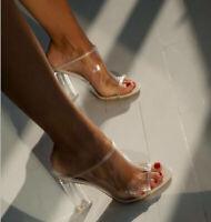 Women Ladies Fashion Peep Toe White Mules Clear High Block Heels Sandals Shoes