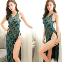Lady Lace Sheer Strap Bodycon Dress Sexy Peacock Clubwear High Slit Retro Chic