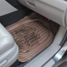 Motor Trend FlexTough 3pc Rubber Floor Mats - Thick Heavy Duty All Weather Brown
