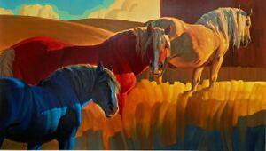 Primary Colors by Nancy Glazier Serigraph Horses Print 42x26