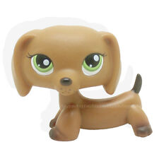 Rare #139 Littlest Pet Shop Brown dachshund Dog Puppy with green eyes LPS Animal