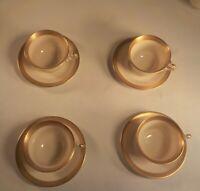 "Vtg set of 4- SYRACUSE China ""BRACELET"" 4 Coffee Cups 4 Saucers Old Ivory USA"