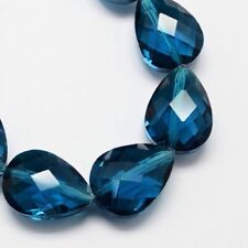 18mm - 12mm Turquoise Glass Teardrop Faceted Beads