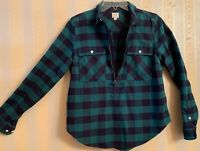 J. Crew Plaid Half Zip Flannel Shirt Jacket Pullover Green/Blue Size Small S
